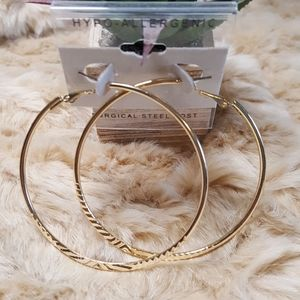 3 for $15 Large Gold Hoops